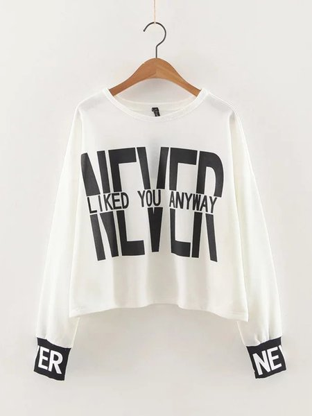 White Letter Printed Statement Sweatshirt