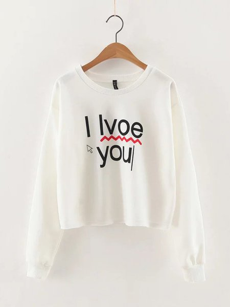White Crew Neck Letter Printed Long Sleeve Sweatshirt