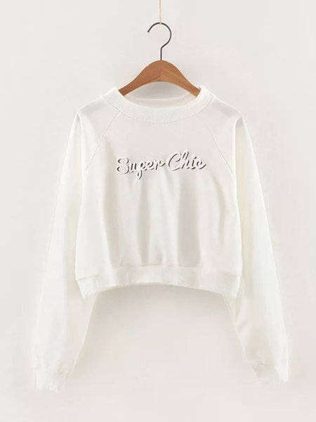 White Long Sleeve Printed Letter Simple Sweatshirt