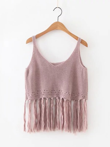 Fringed Solid Spaghetti Knitted Tank Top