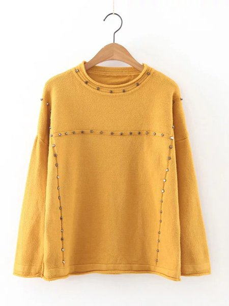 Rivet Long Sleeve Crew Neck Solid Knitted Sweater
