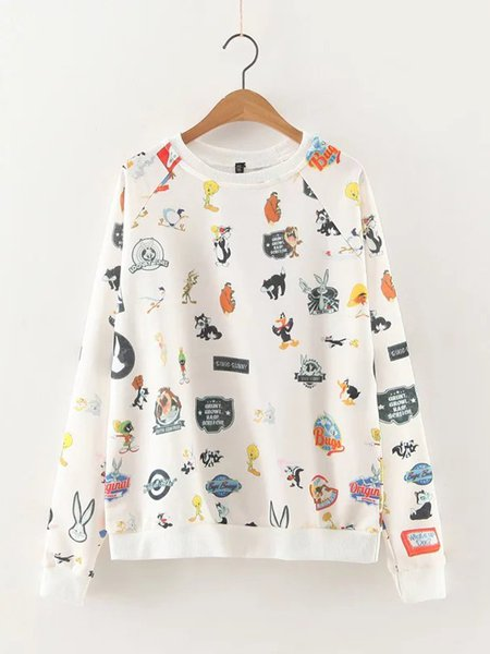 White Cotton-blend Long Sleeve Cute Printed Sweatshirt