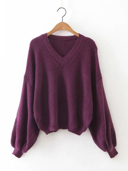 balloon sleeve knitted simple solid v neck sweater