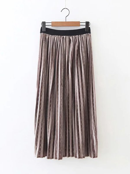 Solid Girly H-line Pleated Skirt