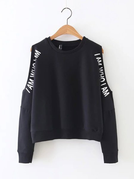 Black Letter Print  Long Sleeve Open-shoulder Cotton-blend Sweatshirt