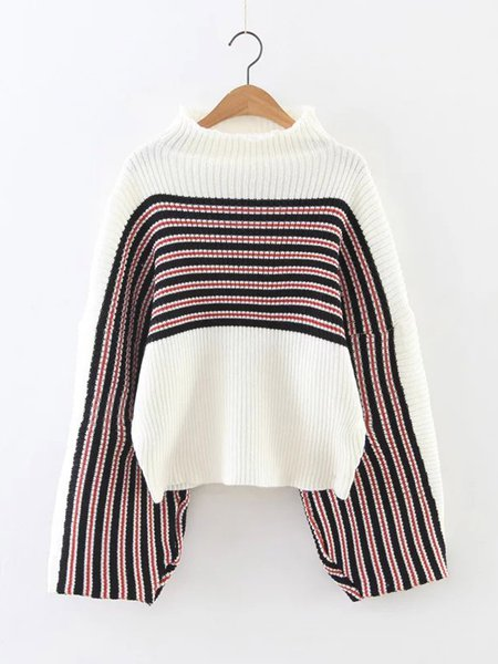 Casual Turtleneck Knitted Color Block Ribbed Sweater