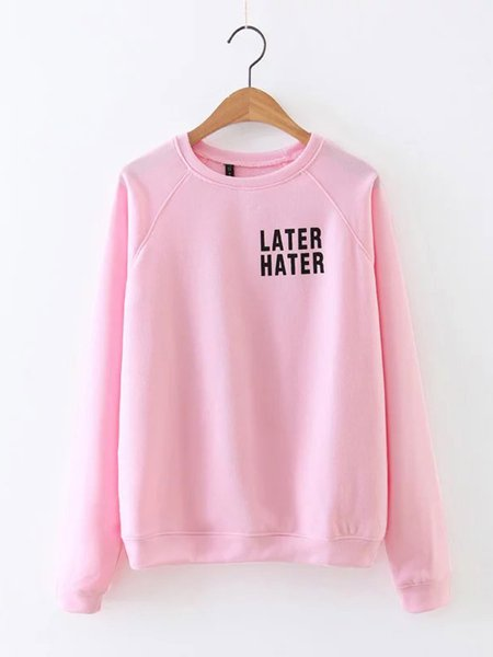 Pink Long Sleeve H-line Letter Print Crew Neck Casual Sweatshirt