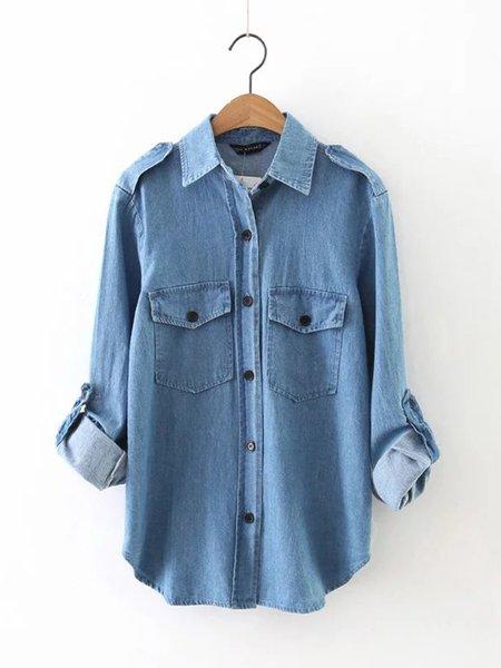 Blue Long Sleeve Pockets Denim Shirt Collar Casual Top