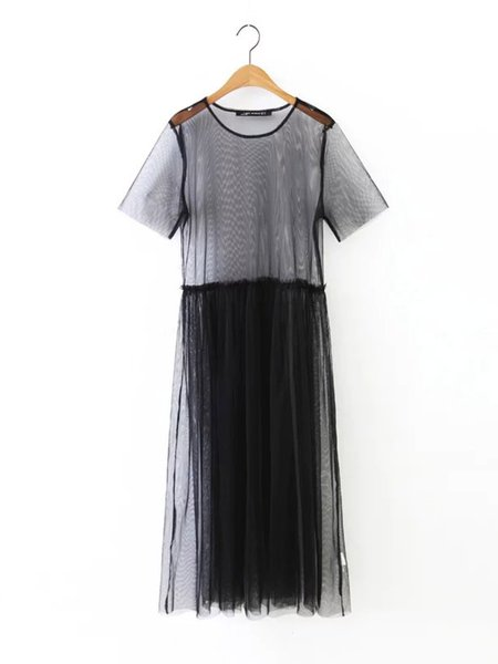 Black Mesh Short Sleeve Crew Neck See-through Look Dress