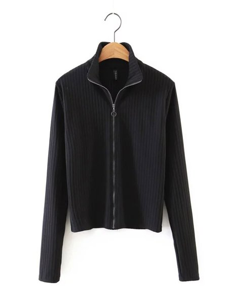 Solid Zip Up Long Sleeve Ribbed Jacket