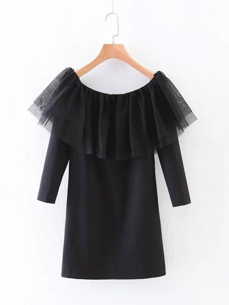 Black H-line Casual Mesh Paneled Off Shoulder Top