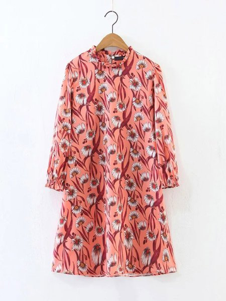 Stand Collar Vintage Long Sleeve Floral Print Dress