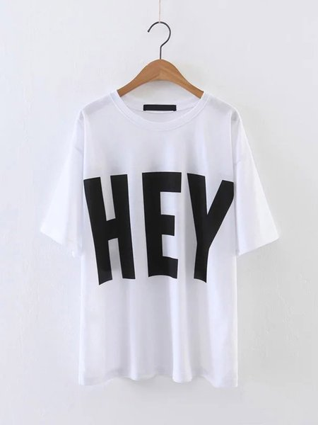 Letter PrintCotton Short Sleeve Crew Neck Casual T-Shirt
