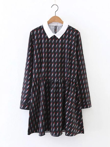 Black A-line Chiffon Long Sleeve Lipstick Pattern Casual Dress