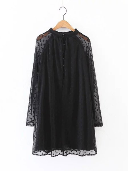 Long Sleeve Tulle Paneled Crew Neck See-through Look Casual Dress