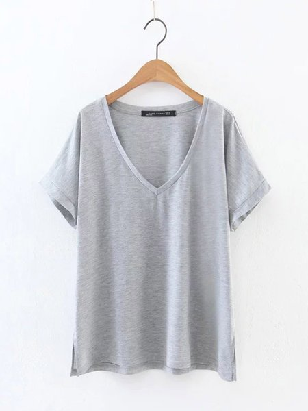Gray Solid H-line Casual Cotton T-Shirt