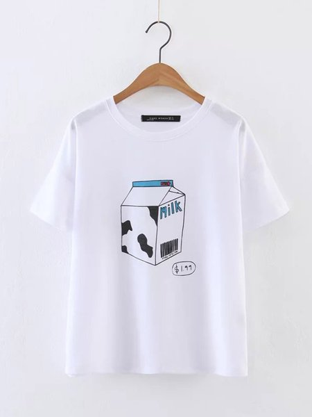 White Cotton Casual Printed H-line T-Shirt