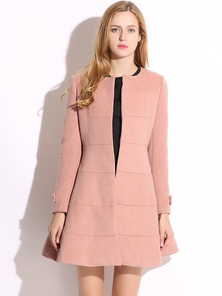 Deep Pink Crew Neck Long Sleeve Coat