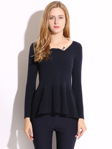Beaded Peter Pan Collar Long Sleeve A-line Sweater