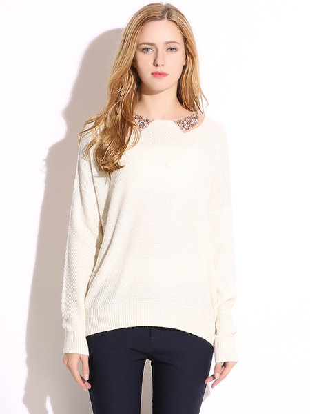 White Beaded Collar Simple Knitted Sweater
