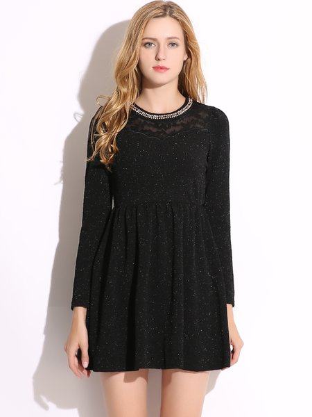 Black Beaded Folds Solid Girly A-line Dress
