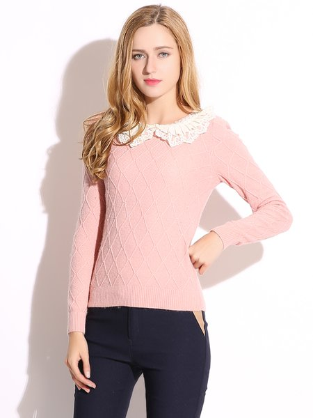 Pink Solid Peter Pan Collar Beaded Simple Sweater