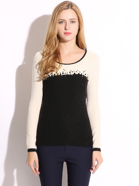 Black Color-block Beaded Crew Neck Sweater