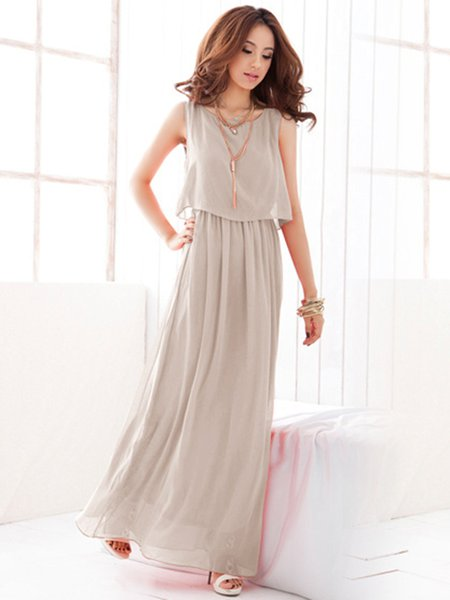 Asymmetric Boho Sleeveless Chiffon Solid Dress