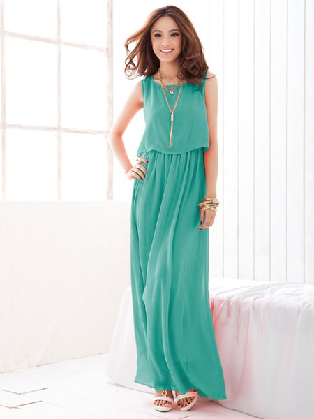 Asymmetric Sleeveless Chiffon Dress