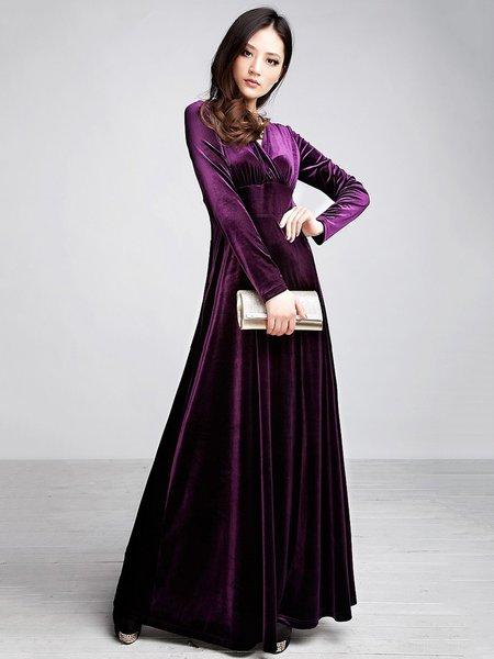 Long Sleeve V Neck Solid Elegant Swing Velvet Dress
