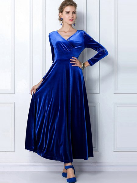 Royal Blue Solid V Neck Swing Long Sleeve Velvet Dress