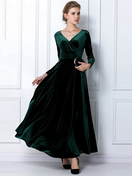 V Neck Solid Long Sleeve Elegant Swing Velvet Dress