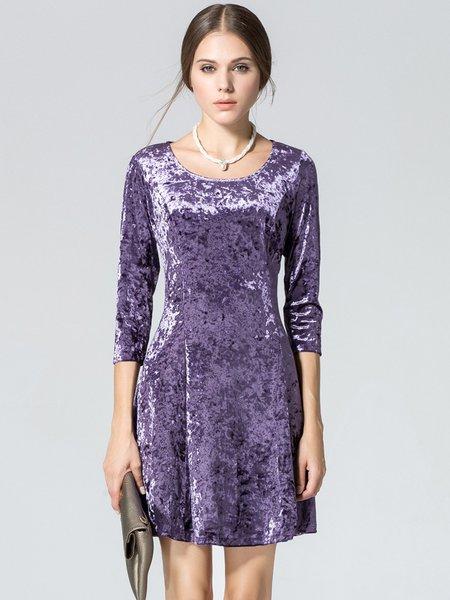 Crew Neck Velvet 3/4 Sleeve Solid Dress