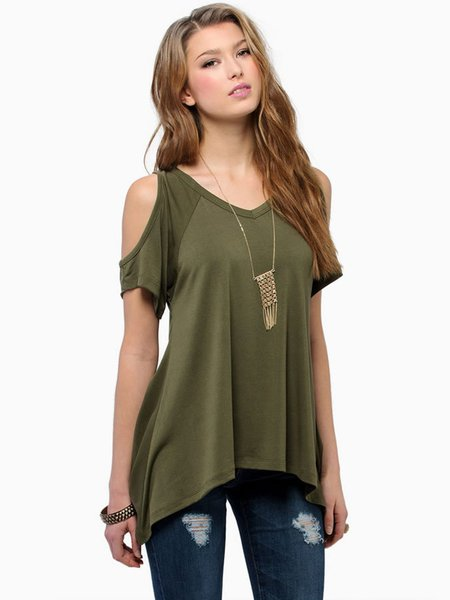 Army Green Solid Short Sleeve Cold Shoulder Top