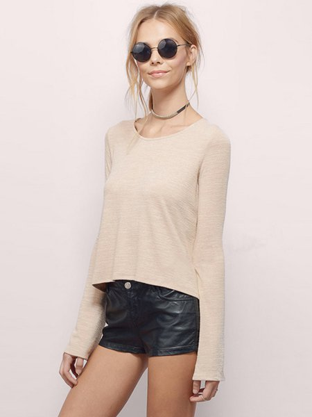 Cutout Solid Long Sleeve T-Shirt