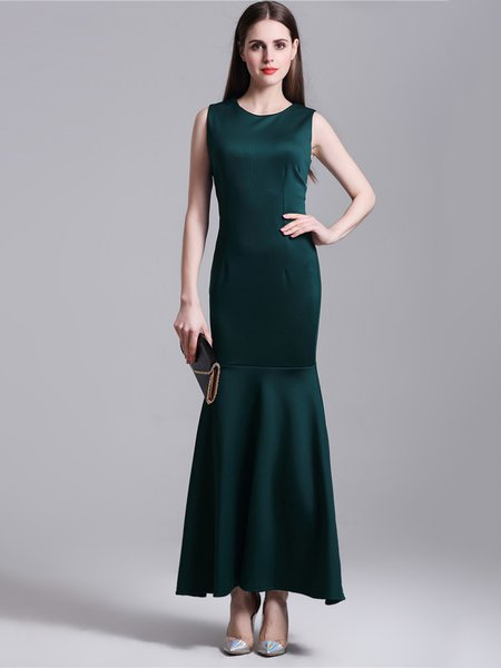 Dark Green Elegant Mermaid Sleeveless Dress