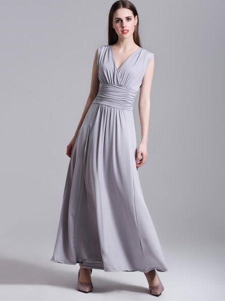 Elegant Plunging Neck Sleeveless Polyester Solid Dress