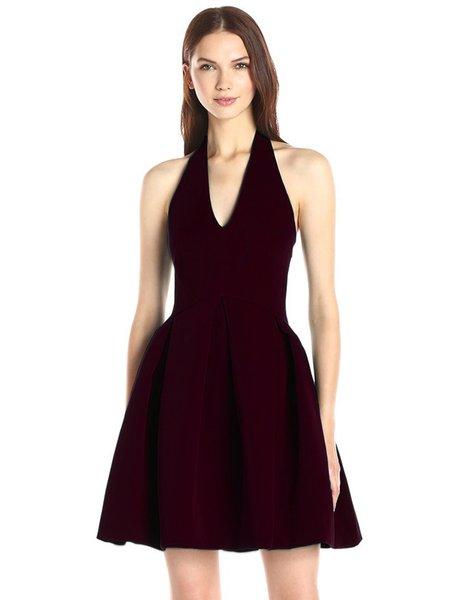 Open Back Sexy Folds Halter A-line Dress