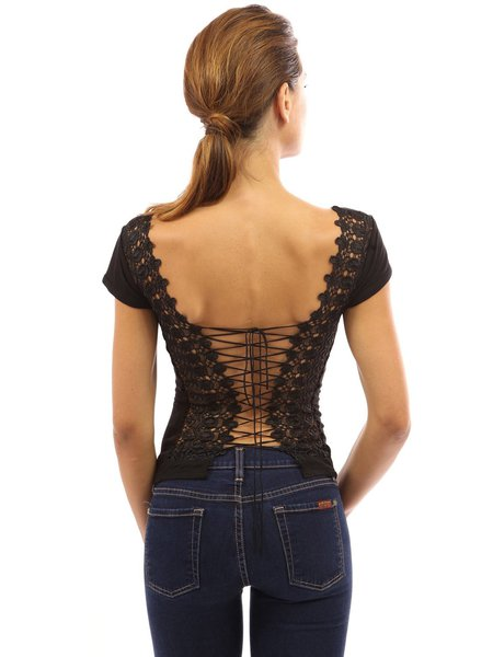 lace up open back sexy short sleeve solid tshirt