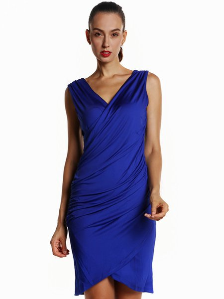 Royal Blue Sheath Sleeveless Gathered V Neck Dress