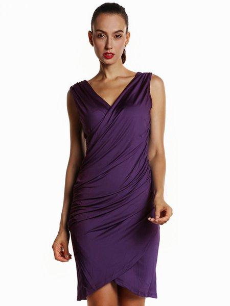 Gathered V Neck Sheath Elegant Sleeveless Dress