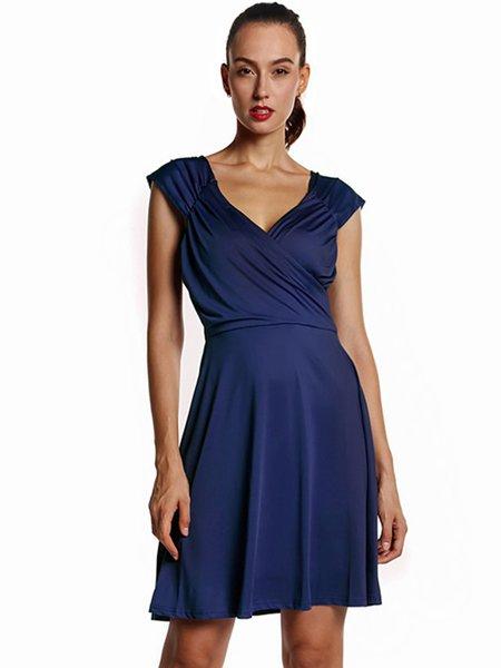 Navy Blue Sleeveless A-line Gathered Dress