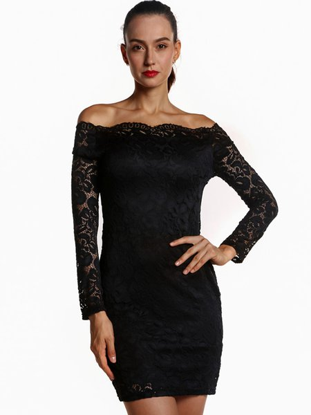 Black dress long sleeve lace sheath