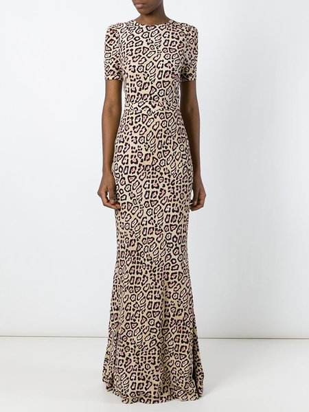 Leopard-print Mermaid Short Sleeve Open Back Dress