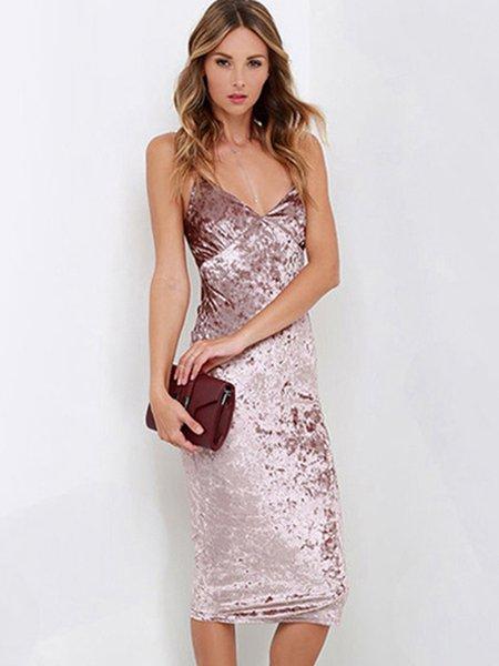 Pink Criss Cross Back Spaghetti Sheath Velvet Dress