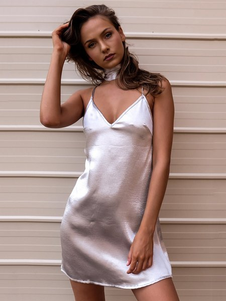 Slouchy Open Back Spaghetti Sexy Satin Dress