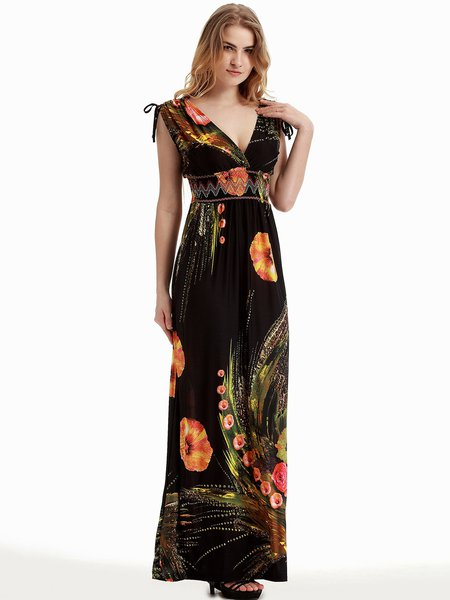 Black Beach Floral-print Plunging Neck Dress