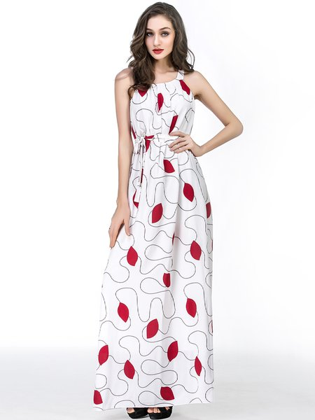 White Printed Spaghetti Boho Chiffon Dress with Belt