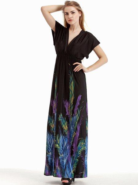 Black Feather Printed Beach V Neck Dress