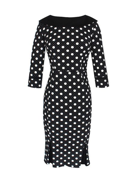 Black 3/4 Sleeve Polka Dot Print Dress